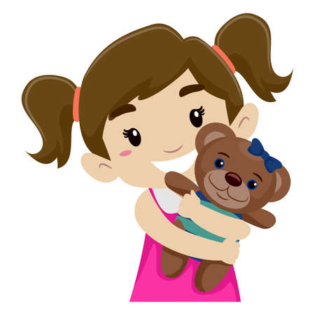Vector Illustration of a Little Girl Hugging her Teddy Bear Ilustração