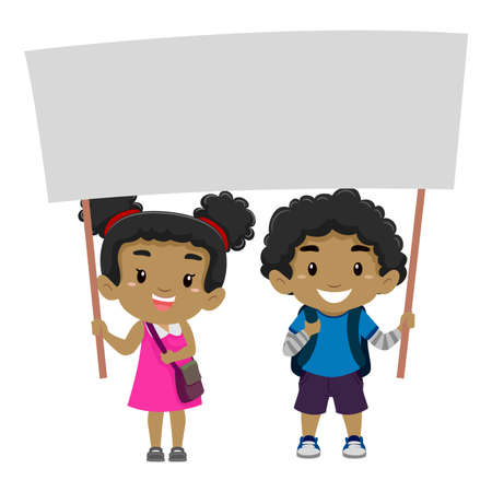 young black girl: Vector Illustration of a Boy and a Girl Holding a blank Signage