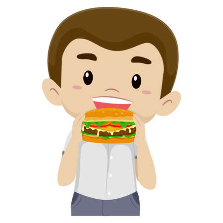 big break: Vector Illustration of a Boy Eating his Hamburger