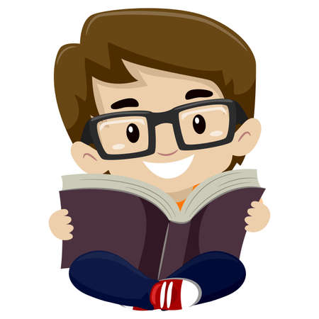 nerdy: Vector Illustration of a Kid Boy Reading a Book