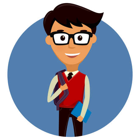 nerdy: Vector Illustration of a Teen Student Boy with Backpack