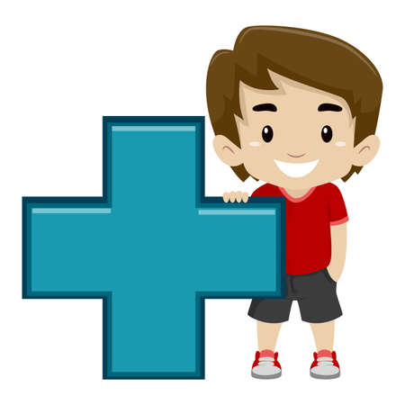 Vector Illustration of a Boy holding Math Addition Symbol