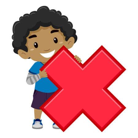 Vector Illustratie van een Boy bedrijf Multiplication Symbol