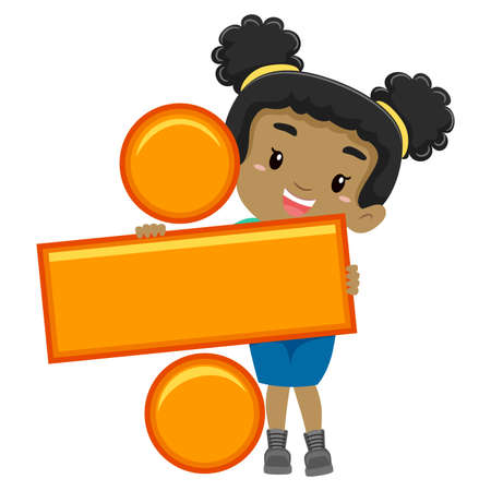 division: Vector Illustration of a Girl holding Division Symbol Illustration