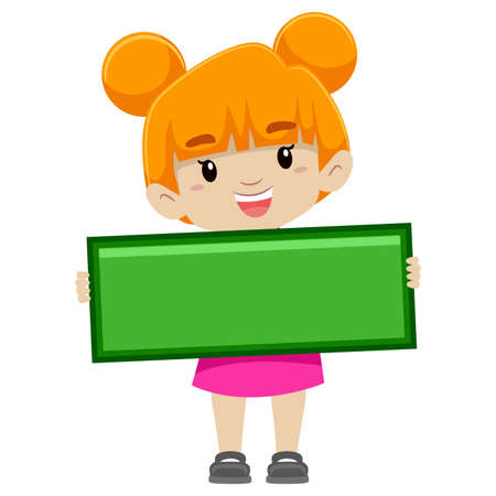 accounting design: Vector Illustration of a Girl holding Subtraction Symbol