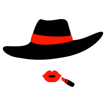 voluptuous: Vector Illustration of woman wearing Hat and Lipstick