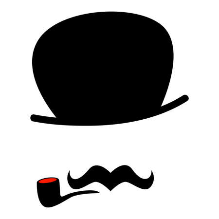 whisker characters: Vector Illustration of a Hipster Man with Mustache and Cigarette
