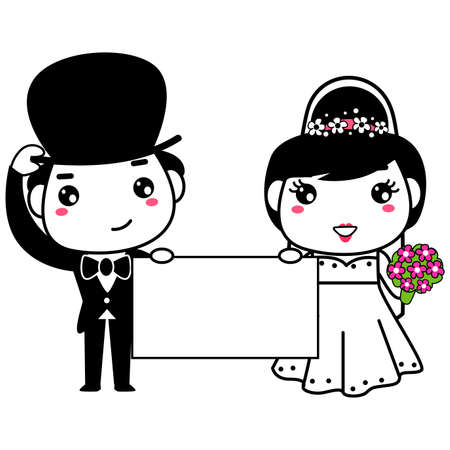 bride and groom illustration: Vector Illustration of Bride and Groom holding a blank Board Illustration