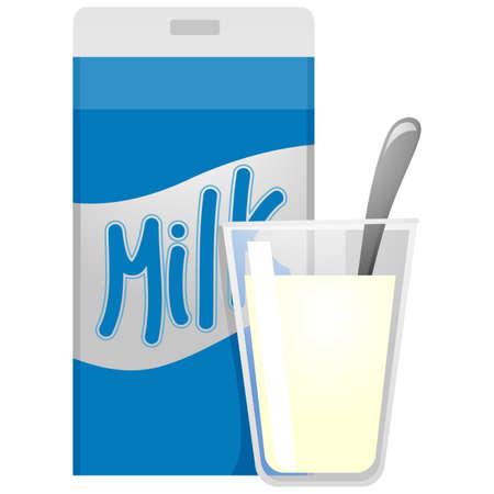 carton de leche: Ilustraci�n del vector de cart�n de la leche y el vaso de leche