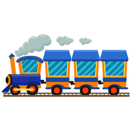 leaving: Vector Illustration of Colorful Locomotive Train