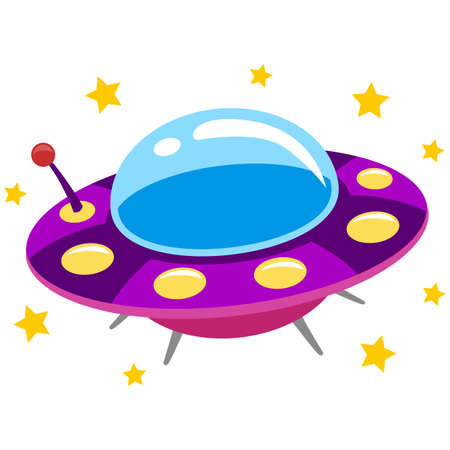 stranger: Vector Illustration of Spaceship UFO and Flying Saucer