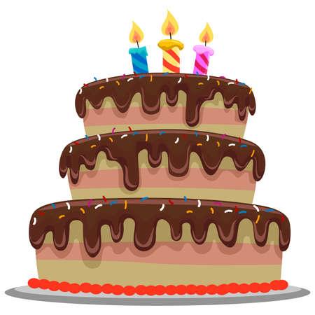 pastel de cumpleaños: Ilustración de la torta de cumpleaños del chocolate dulce
