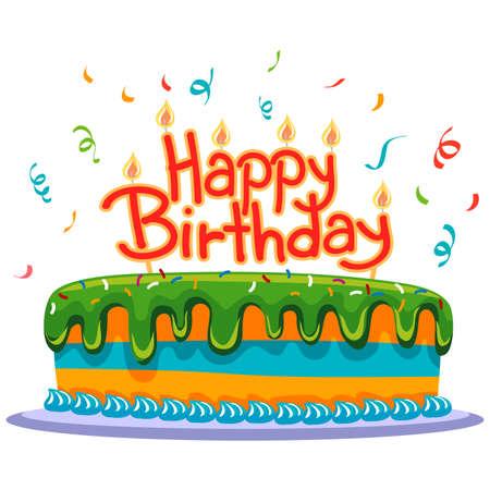 紙吹雪で誕生日ケーキ  イラスト・ベクター素材