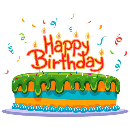 torta: Torta de cumpleaños con confeti