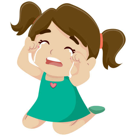 Vector Illustration of a Little Girl Crying Çizim