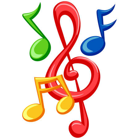 music abstract: Illustration of Colorful Music Notes