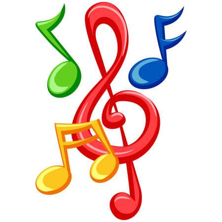 Ilustracja kolorowe Music Notes