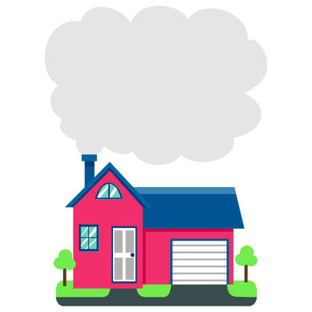 residential home: Vector Illustration of House with Chimney Smoke