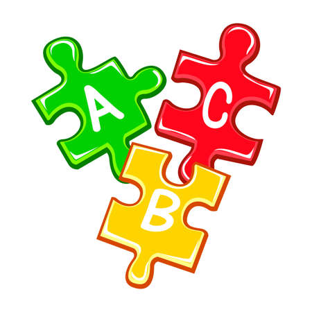 abc letters: Vector Illustration of ABC Puzzle Pieces