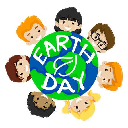 global village: Illustration of Earth Day Kids Diversity