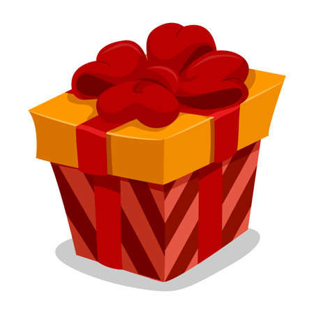 red gift box: Vector Illustration of Red Gift Box with Red Ribbon