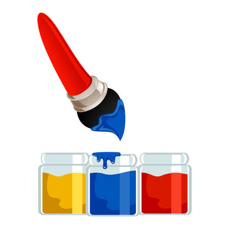 colors paint: Vector Illustration of Paintbrush with different colors of Paint Jar