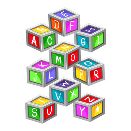 letter blocks: Vector Illustration of colorful Toy Letter Blocks Illustration