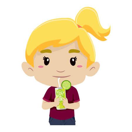 sip: Vector Illustration of a Girl Drinking Glass of Lemonade Illustration