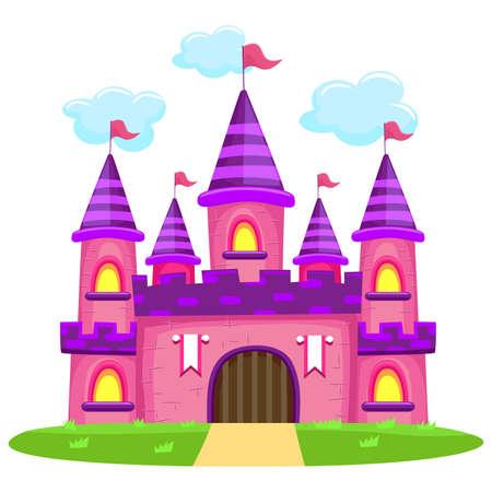 Vektor-Illustration von rosa Schloss Standard-Bild - 55395834