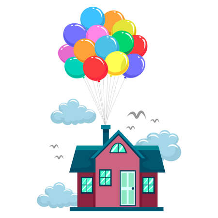 family moving house: Vector Illustration of House Fly by Colorful Balloons