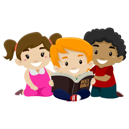 Vector Illustration of Children Reading Bible Ilustração