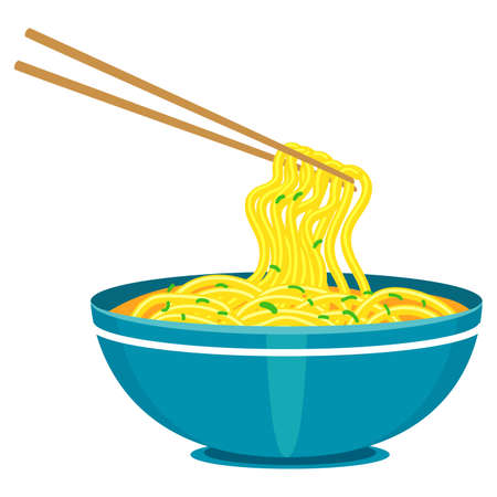 Vector Illustration of Chinese Noodles and Chopsticks