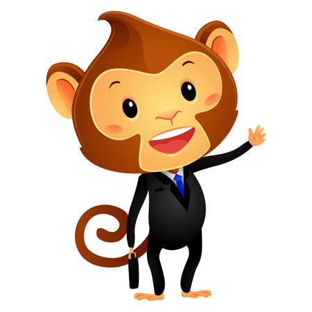 monkey suit: Vector Illustration of Monkey in Business Attire