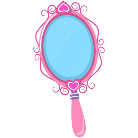 Vector Illustration of Vintage Pink Hand Mirror