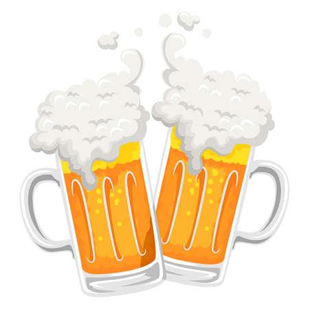 ビール マグカップ トーストのベクトル イラスト