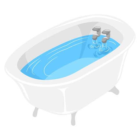 水で満たされた浴槽のベクトル図  イラスト・ベクター素材