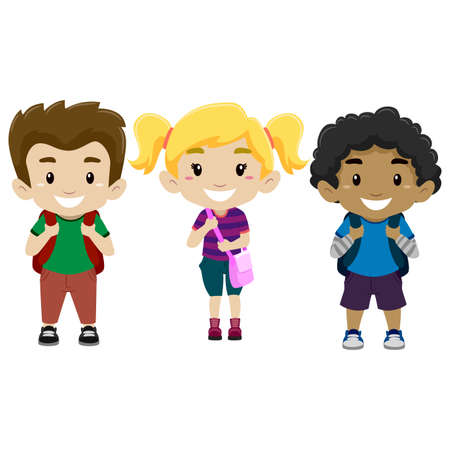 Vector Illustration of Happy Kids as student