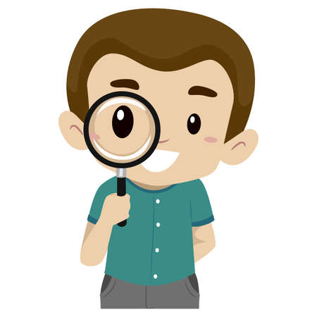 inquire: Vector Illustration of a boy using a magnifying glass