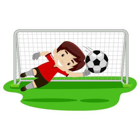 futbol soccer dibujos: Vector ilustración de un muchacho portero intentando agarrar la pelota en la puerta de fútbol Vectores
