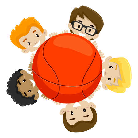 teammates: Vector Illustration of a Basketball Team holding the Ball