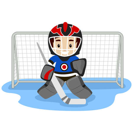 hockey goal: Vector Illustration of Playing Ice Hockey Player