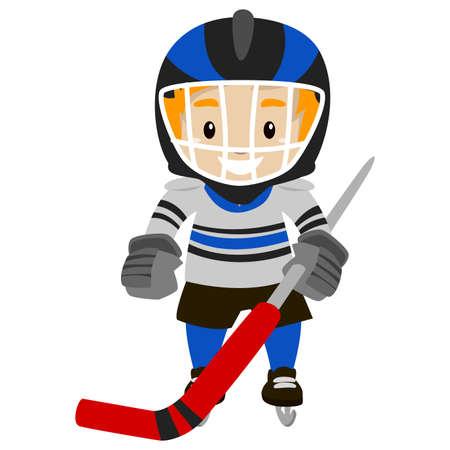 ice hockey player: Vector Illustration of Ice Hockey Player
