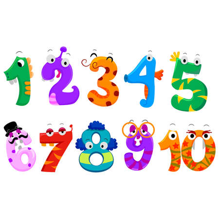 Vector Illustration of Set of Numbers Monster Çizim