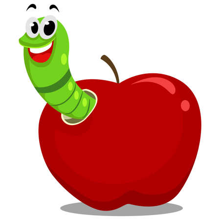 crawling creature: Vector Illustration of Worm inside the Apple