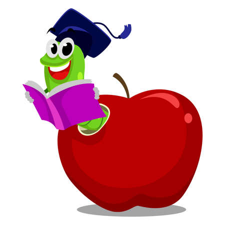 book worm: Vector Illustration of Worm inside the Apple reading book wearing graduation hat