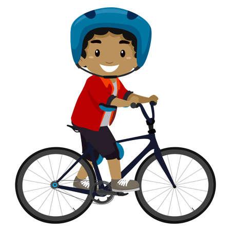 zapatos caricatura: Ilustración vectorial de un niño que monta una bicicleta