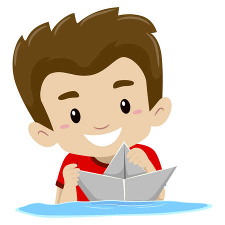 playtime: Vector Illustration of a Boy playing Paper Boat in the water