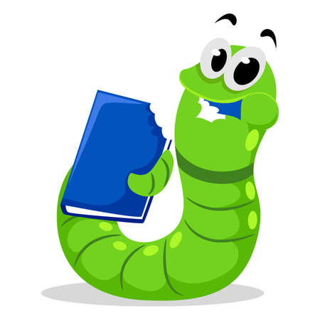 Vector Illustration of Worm eating Book