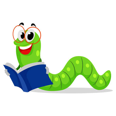 book worm: Vector Illustration of Worm Reading Book
