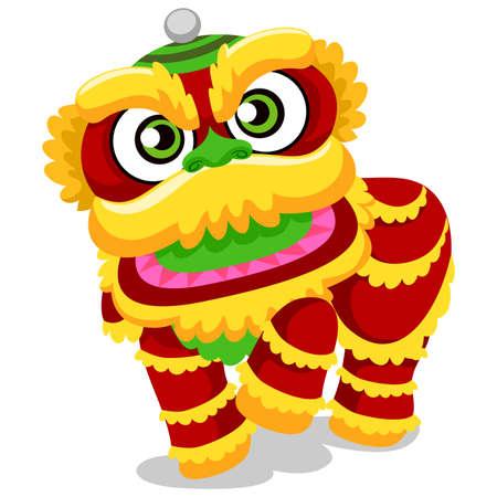 Illustrazione vettoriale di Lion Dance per il nuovo anno cinese Vettoriali